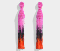 Long Ombre Beaded Tassel Clip Ohrringe aus Spinel Synthetik