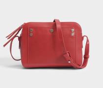 Box Tasche aus karminrotemm Kalbsleder