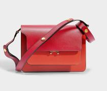 Trunk Medium Tricolor Tasche aus Cherry rotem, Tile und Saffiano Kalbsleder
