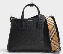 The Banner Small Tote in Black Calfskin