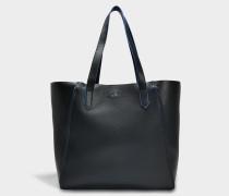 PiPing Tote Bag aus schwarzem Leder