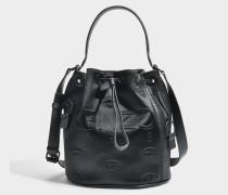 Kombo Bucket Tasche aus schwarzem Satin und Netzstoff