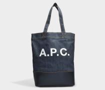 Axel Tote Tasche aus dunklem navyblauem Canvas und geschmeidigem Leder
