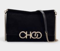 Tasche Sidney Choo Logo aus schwarzem Wildleder mit Kristalllogo
