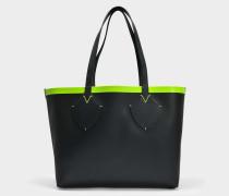 Medium Check Tote Bag aus schwarzem und neongelbem Canvas und Kalbsleder