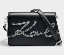 K/Signature Krystal Shoulder Bag aus schwarzem glattem Kalbsleder