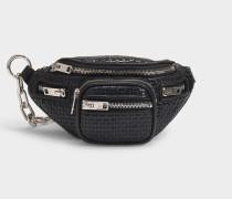 Mini- Bauchtasche Attica Soft Crossbody aus schwarzem geflochtenen Leder