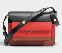 Trunk Medium Tricolor Tasche aus schwarzem, rotem und Maroon Kalbsleder