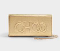 Clutch Santini aus goldenem Nappaleder mit Logoprägung Choo
