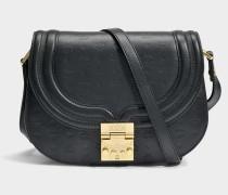 Trisha Shoulder Bag aus schwarzem monogrammiertem Leder