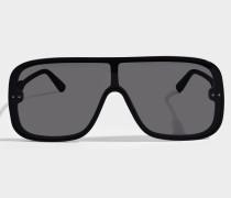 Sonnenbrille mit nicht reflektierenden Linsen aus schwarzem Acetat