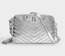Fleming Distressed Metallic Camera Bag in Silver Calfskin