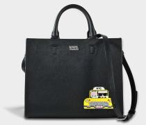 Mini NYC Tote Bag aus schwarzem Technical Saffiano