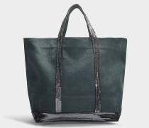 mittlerer grüner Shopper + aus gewaschenem Leder und Pailletten