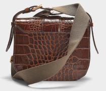 Crocodile embossed leather Gemma Medium crossbody aus braunem Kalbsleder