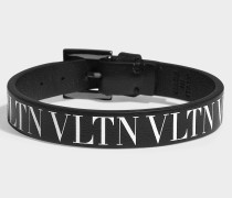 Kleines Armband VLTN aus schwarzem und weißem Kalbsleder