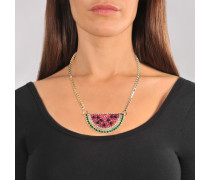 Watermelon Halskette aus fuchsia und grünem Metall