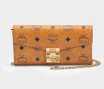 Wallet on Chain Patricia Visetos aus cognacfarbenem PVC