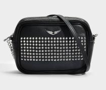 Boxy Spike XS Tasche aus schwarzem Kuhleder