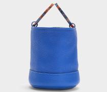 Handtasche mit Schulterriemen Bonsai 15 cm aus genarbtem kobaltblauem Kalbsleder