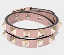 Rockstud Double Rows Armband Or Choker Halskette in Powder Nuancen aus Kalbsleder