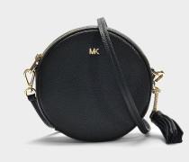 Handtasche Canteen Medium aus schwarzem Kalbsleder