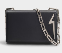 Detail Logo Box Bag with Chain in Black Leather
