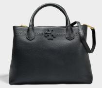 Mcgraw Triple Compartment Satchel Tasche aus schwarzem Kalbsleder