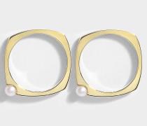 Ohrringe in 9K Gelbgold mit Perlen