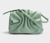 Schultertasche Bloomy mit Pansy Intarsia Motiv aus minzgrünem Kalbsleder