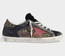 Sneaker Superstar mit goldenen und silbernen Strohtten