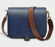 The Square Satchel Tasche aus Indigo Soft Leder