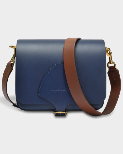 The Square Satchel Tasche aus Indigo Soft Leder