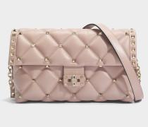 Candy Lock Shoulder Tasche aus Dusty rosanem Nappa Leder