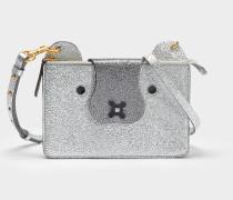 Husky Crossbody Beuteltasche aus silber Crinkled Optik Leder