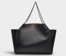 Shopper Medium Falabella Thin Chain aus schwarzem Eco Leder