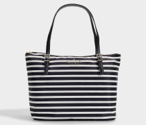Watson Lane Small Maya Tote in Black and Cream Nylon