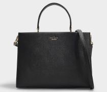 Handtasche Sara Cameron Street aus Kalbsleder Saffiano in Schwarz