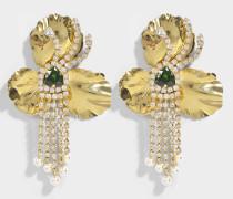Orchid goldenem Ohrringe aus vergoldetem Messing, Swarowskisteinen und Perlen