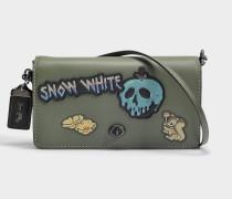 Handtasche mit Schulterriemen Dinky Dark Fairytale Patches aus khakifarbigem Kalbsleder