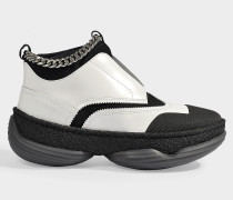 Sneakers in White Leather and Neoprene