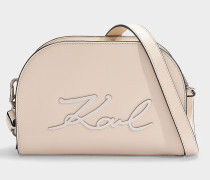 K/Signature Big Crossbody Bag in Beige Calfskin