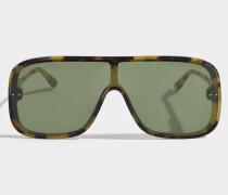 Sonnenbrille mit flaschefarbenem Linsen aus Havana Acetat