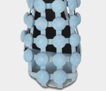 Amelia Flat Schlappen Schuhe aus blauer Baumwolle