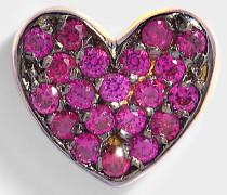 Heart Mono Ohrring aus Ruby und 14K Gold