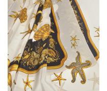70X180 Trésor De La Mer Stola aus weißem Chausa Crepe