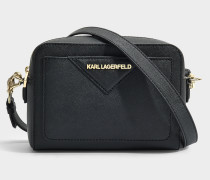 K/Klassik Kamera Tasche aus schwarzem Saffiano