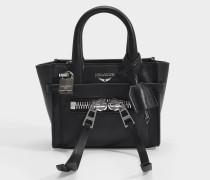 Tasche Candide Nano Zip aus glattem schwarzem Kalbsleder
