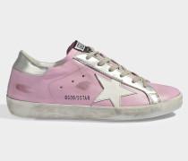 Sneaker Superstar aus Kalbsleder und rosa Ziegenleder