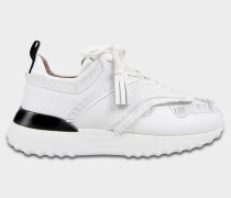 Sportivo Fringed Sneaker aus weißem Kalbsleder